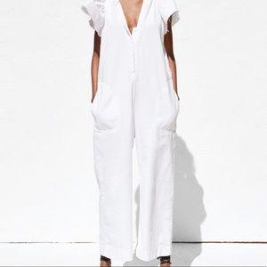 Zara White raw hem rustic Jumpsuit